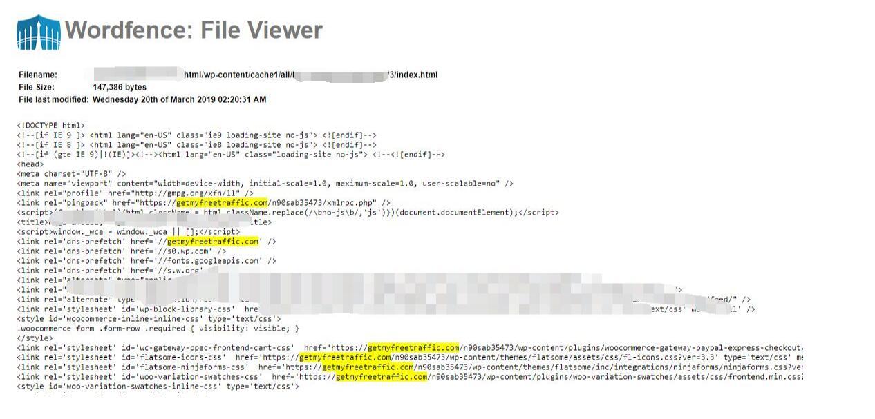 Wordfence Security显示给改动的源码